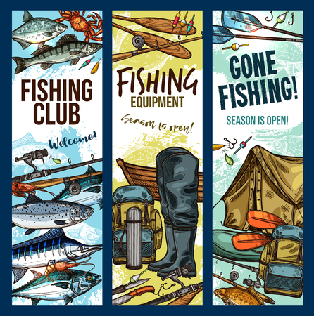 Fishing club sketch banners templates for fisherman sport. Vector fisher equipment and tackles for fish and seafood catch of fishing rod, wader boots or boat and tent for salmon or trout fishing Illustration