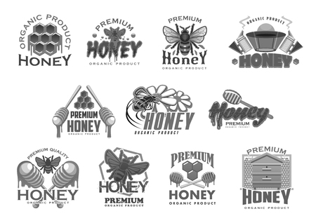 Honey and beekeeping farm product icons templates. Vector isolated symbols of bee honeycomb, honey drops and dipper spoon for beekeeping product jar package or organic market shop design Illustration
