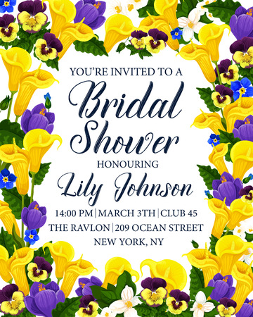 Bridal shower party invitation card with flower frame. Calla lily, spring crocus, pansy and jasmine blooming branch floral border for wedding and engagement ceremony greeting card design Ilustracja