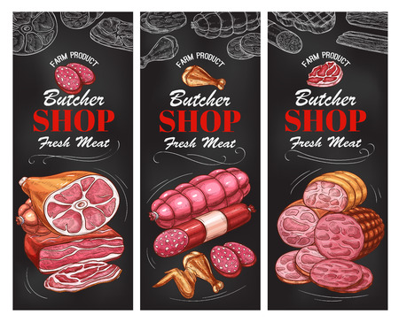 Butcher shop meat product and sausage banner design Stok Fotoğraf - 101011522