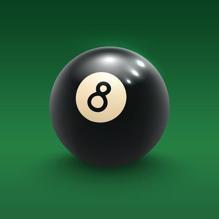 Eight pool ball on green billiard table 3d poster