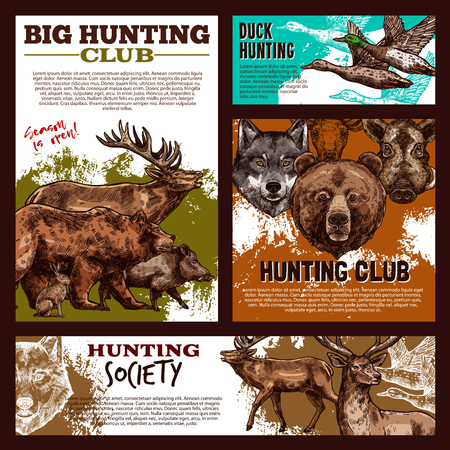 Hunting banner with wild animal and bird sketch