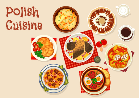 Polish cuisine icon with meat and vegetable dish 일러스트