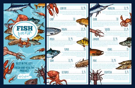 Seafood restaurant menu templates with a fish sketch background.