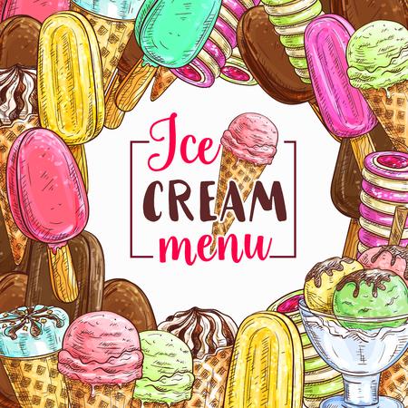 Ice cream sketch frame for cafe menu cover background design