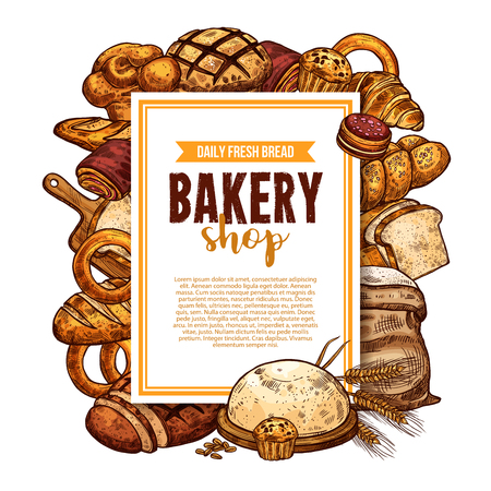 Bread and pastry sketch frame for bakery banner background design