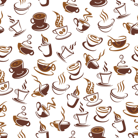 Coffee cup with bean seamless pattern background