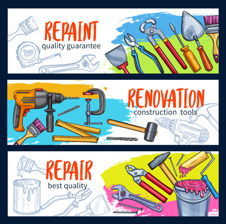 Repair work banner or poster background design with construction tool sketch