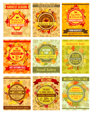 Autumn or fall vector sale posters of leaf foliage