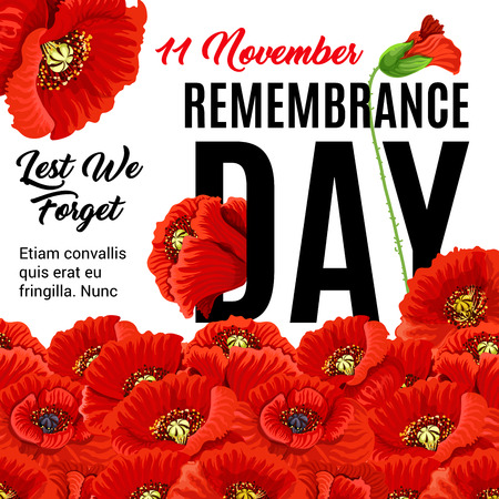 Remembrance day creative poster, banner background design Illustration