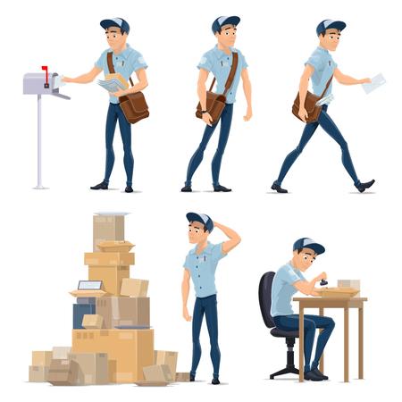 Postbote liefert Mail-Symbol für den Postdienst