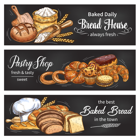 Bread blackboard banner set for bakery and pastry shop template. Fresh bread, baguette and croissant, bun, cupcake and cake, cookie, bagel and sweet roll chalk sketch with wheat flour and baker hat 写真素材 - 100464940