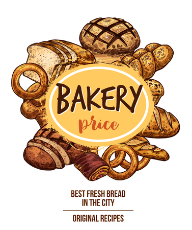 Bakery shop banner with bread and pastry product Illustration
