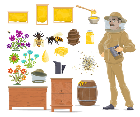 Honey bee, honeycomb, beehive and beekeeper icon Illustration