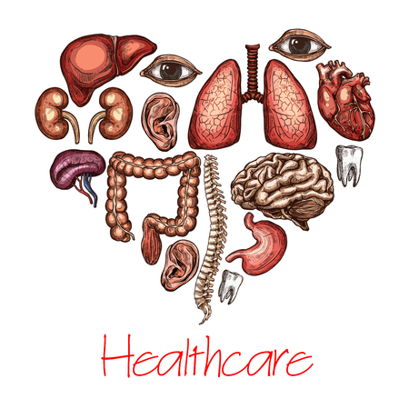 Heart health symbol composed of human organ sketch Illustration