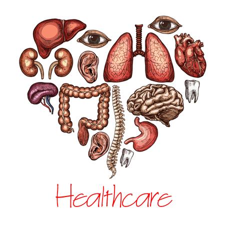 Heart health symbol composed of human organ sketch Vectores