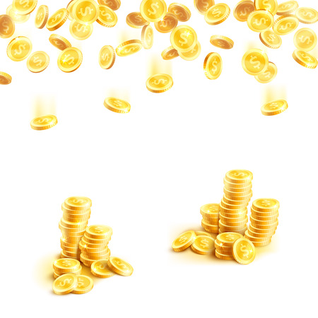 Golden rain of money and stack of gold coin poster Ilustrace