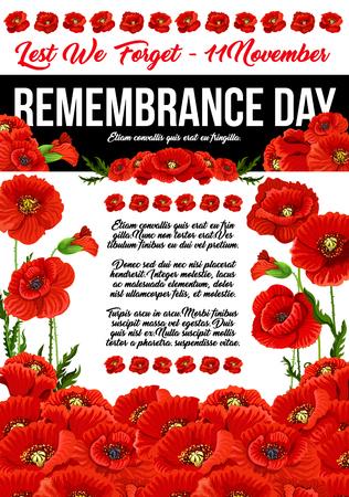 Poppy herdenkingsdag 11 november vector poster