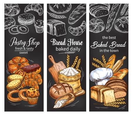 Bannière de boulangerie et pâtisserie avec pain et petit pain