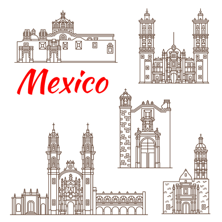 Travel landmark of mexican architecture icon Vector illustration.