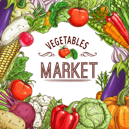 Vegetable market poster with frame Vector illustration.