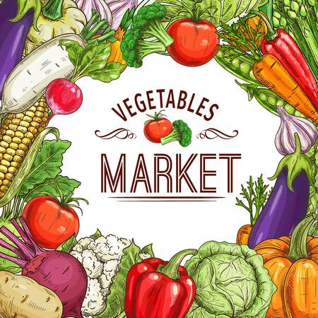 Vegetable market poster with frame Vector illustration.