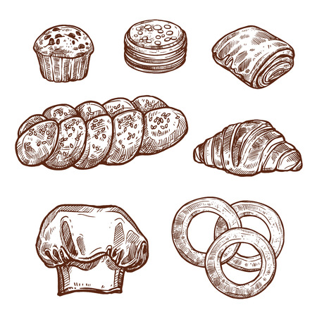 Sweet bread bun sketch of bakery, pastry product Vector illustration.