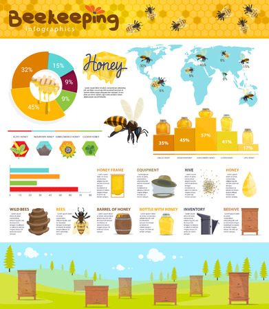 Beekeeping and honey production infographic Vector illustration.