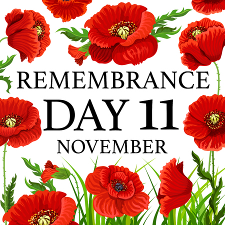 11 November poppy remembrance day vector card Ilustrace
