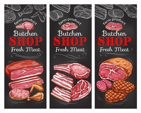 Meat and sausage chalkboard banner of butcher shop Vector illustration.