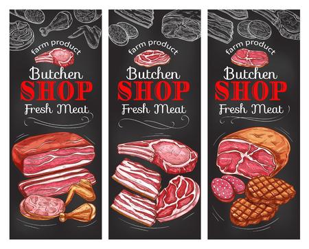 Meat and sausage chalkboard banner of butcher shop Vector illustration.