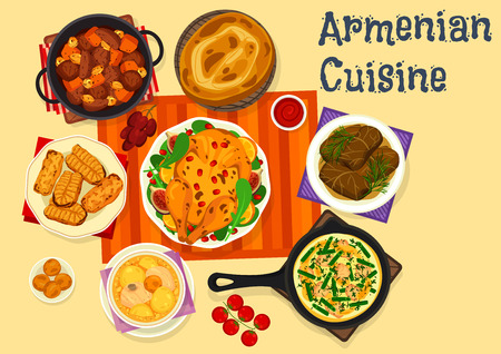 Armenian cuisine icon of meat dinner with dessert Vector illustration.