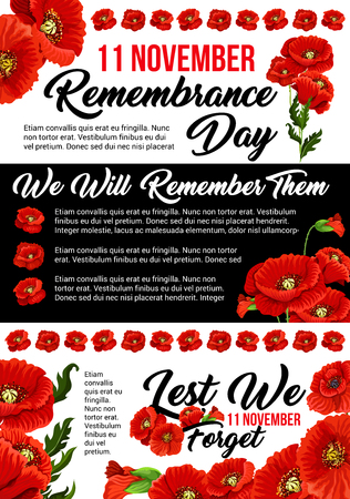 11 November poppy remembrance day vector poster