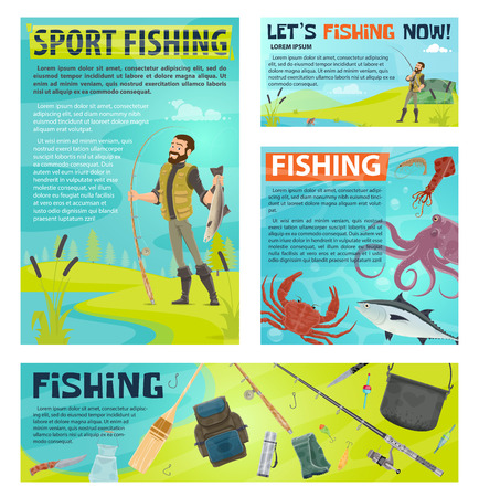 Sport fishing banner with fisherman and fish catch Vector illustration. 写真素材 - 100477239