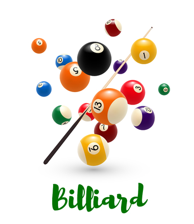 Billiard pool ball, cue poster for snooker design Vector illustration. Stock Illustratie