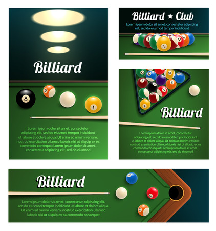 Billiard sport club and poolroom banner template Vector illustration.
