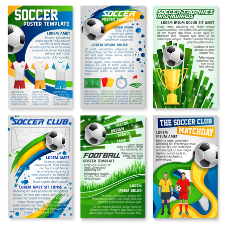 Football or soccer game banner, sport club design Vector illustration. Ilustração
