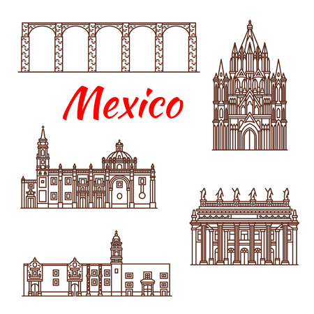 Mexican architecture travel landmark linear icon Vector illustration. Stock Illustratie