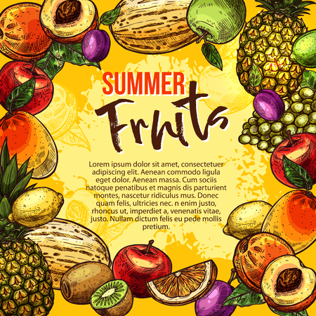 Tropical fruit sketch poster of summer berry frame Vector illustration.