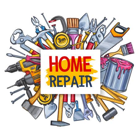 Cartel de la herramienta de reparación de viviendas para el diseño de la construcción Ilustración vectorial. Ilustración de vector