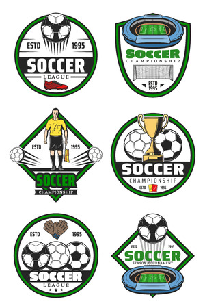 Soccer championship badge for football sport game competition design. Soccer ball, winner trophy cup and football stadium play field, goal gate, referee and flag for sport club label template