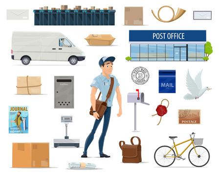 Postal delivery service cartoon set with postman and post icon. Post office, mailman, letter and mailbox, postage stamp, package and parcel, postal worker bag, delivery truck, bike and postmark symbol Archivio Fotografico - 100547699