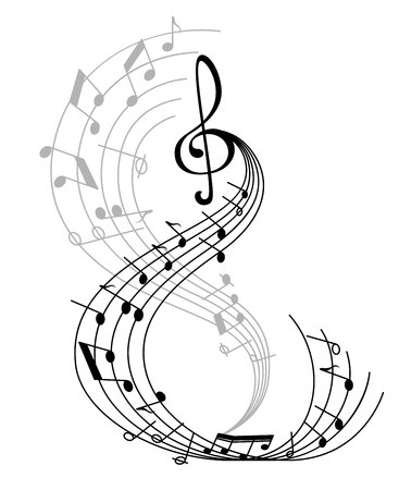 Music note poster of musical symbol on curved staff with treble clef and key signatures. Classical music melody notation for music themes design Illustration