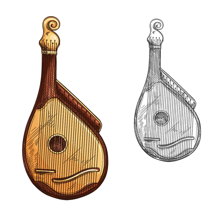 Bandura ukrainian musical instrument isolated sketch. Bandura or kobza plucked string folk instrument of Ukraine with wooden body and strings for ethnic music orchestra and folk festival theme design