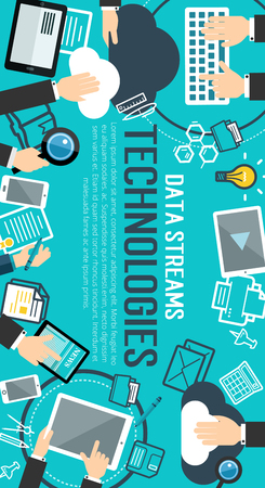 Data stream technology flat banner for big data management and cloud computing concept. User with laptop, mobile phone and desktop computer doing data analysis for internet technologies poster design Foto de archivo - 100547395
