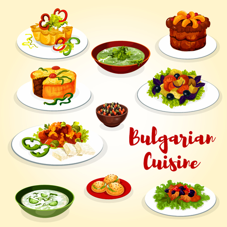 Bulgarian cuisine menu icon of dinner dish with dessert. Cucumber soup tarator, vegetable salad and fried pepper with cheese, bean beef stew, spinach soup, fruit jam pie and grape cupcake Archivio Fotografico - 100547632