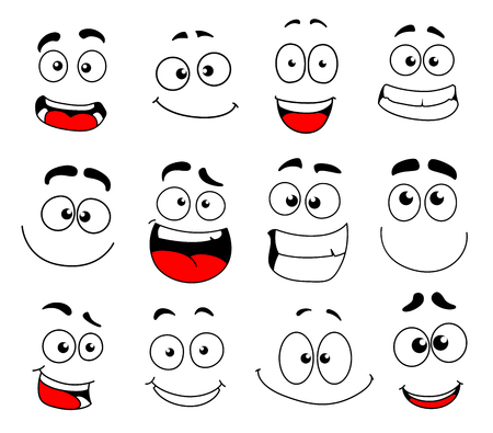 Human face emotion cartoon icon set. Emoticon, smiley and emoji character with happy, funny and cheerful smile, cute, confused and joyful eyes for facial expression and emotion themes design