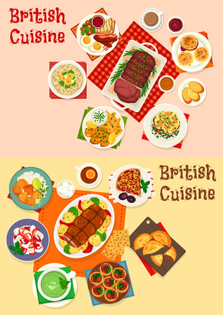 British cuisine icon set with breakfast and dinner dish. Roast beef, egg, bacon and bean with scone, sausage tart, sorrel soup, meat and fruit pie, oatmeal, fruit dessert, fried fish and potato chip Archivio Fotografico - 100548238