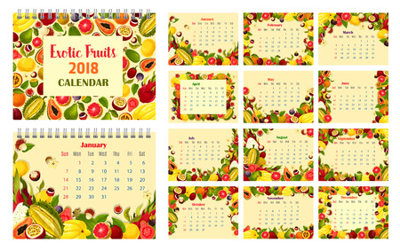 Calendar template with exotic fruit frame. Tropical berry monthly calendar of 2018 year with papaya, orange and grapefruit, feijoa, fig and durian, lychee, passion and dragon fruit, carambole, guava