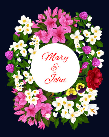 Wedding invitation card with flower frame. Spring jasmine and azalea branch, peony, clover and pansy blooming plant wreath with copy space for marriage anniversary greeting card and Save Date template